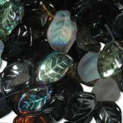 Glasperlen gepresst Blätter 9X14mm MIX13 Pebblestone 50 Stück