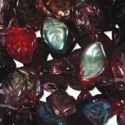 Glasperlen gepresst Blätter 9X14mm MIX18 Vineyard 50 Stück