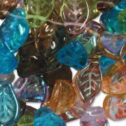 Glasperlen gepresst Blätter 9X14mm MIX20 Prarie 50 Stück