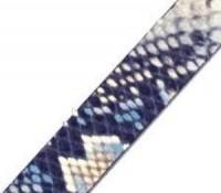 Lederband 15x2mm Schlangenoptik Blau 20cm lang