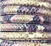 Lederband 10x5mm Schlangenoptik Rosa 20cm lang