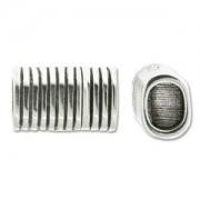 Magnetverschluss gestreift 22x15x10mm für 10x7mm Lederband silberfarben