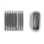 Magnetverschluss gestreift 25x25mm für doppeltes 10x7mm Lederband silberfarben