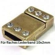 Magnetverschluss mit Strass 21x14mm für 10x2mm Lederband altgoldfarben