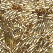 Miyuki Bugle Beads Stäbchen gedreht 12mm 0003 transparent silverlined Gold ca14gr.