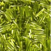 Miyuki Bugle Beads Stäbchen gedreht 12mm 0014 transparent silverlined Lime Green ca14gr.