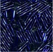 Miyuki Bugle Beads Stäbchen gedreht 12mm 0020 transparent silverlined Cobalt Blue ca14gr.