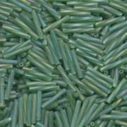 Miyuki Bugle Beads Stäbchen gedreht 12mm 0179F transparent rainbow matt Kelly Green ca14gr.