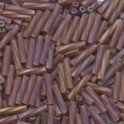 Miyuki Bugle Beads Stäbchen gedreht 12mm 0257F transparent rainbow matt Dark Amber ca14gr.