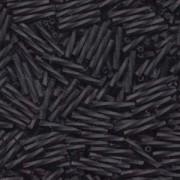 Miyuki Bugle Beads Stäbchen gedreht 12mm 0401F opaque matt Black ca14gr.