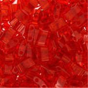 Miyuki Halb Tila Beads 2,2x5mm transparent Red HTL0140 ca 7,8gr