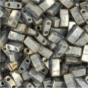 Miyuki Halb Tila Beads 2,2x5mm galvanized luster Grey HTL1865 ca 7,8gr