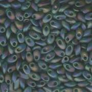 Miyuki Long Magatama Beads 4x7mm ca8,5gr 0146FR transparent rainbow matt Green