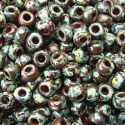 Miyuki Rocailles Picasso Beads 3mm 4503 transparent Red Brown ca 22gr