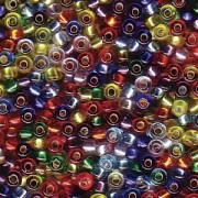 Miyuki Rocailles Beads 2mm Mix38 Silverlined Rainbow ca 24 Gr.