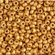 Miyuki Rocailles Beads 1,5mm 4203F frosted Duracoat galvanized Yellow Gold ca 11 Gr.