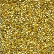 Miyuki Stäbchen Perlen Bugle Beads Hexcut 1,5mm 0003C transparent silverlined Gold 12gr