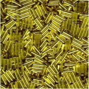 Miyuki Stäbchen Perlen Bugle Beads 6mm 0006 transparent silverlined Mustard Yellow 10gr