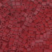 Miyuki Würfel Beads, Cube, Square Beads 4mm 0140F transparent matt Red 20gr