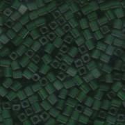 Miyuki Würfel Beads, Cube, Square Beads 4mm 0146F transparent matt Green 20gr