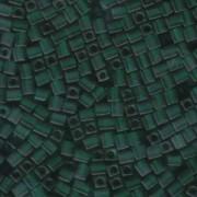 Miyuki Würfel Beads, Cube, Square Beads 4mm 0147F transparent matt Dark Green 20gr