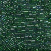 Miyuki Würfel Beads, Cube, Square Beads 4mm 0179 transparent rainbow Green - Gold 20gr