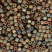 Miyuki Würfel Beads, Cube, Square Beads 4mm 2035 metallic rainbow matt Rose - Green 20gr