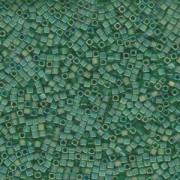 Miyuki Würfel Beads, Cube, Square Beads 1,8mm 0146FR transparent rainbow matt Green 12gr