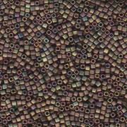 Miyuki Würfel Beads, Cube, Square Beads 1,8mm 2035 metallic rainbow matt Rose Green 12gr