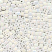 Miyuki Würfel Beads, Cube, Square Beads 1,8mm 0402R opaque rainbow White 12gr