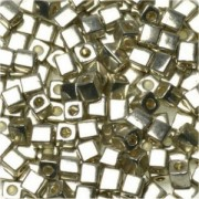 Miyuki Würfel Beads, Cube, Square Beads 4mm 0961 bright plated Sterling 25gr