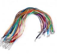 Organza Halsband mehrsträngig mit Karabinerverschluss silberfarben 10 Stück bunt sortiert