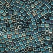 Miyuki Würfel Pearls, Cube, Square Beads 4mm 2008 rainbow matt Teal 20gr