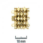 Schmuckverschluss 23Karat vergoldet mit Swarovski Elements Steinen 20x13mm