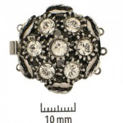 Schmuckverschluss Old Palladium mit Swarovski Elements Steinen 25mm