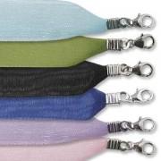 Organza Halsband 2-strängig, Verschluss 925er Silber 12 Stück bunt sortiert