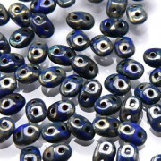 SuperDuo Perlen 2,5x5mm Picasso Blue DU0533050-43400 ca 24gr