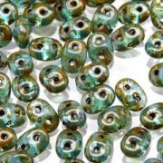 SuperDuo Perlen 2,5x5mm matt Aqua Travertin DU0560020-86800 ca 24gr