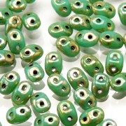 SuperDuo Perlen 2,5x5mm Turquoise Green Picasso DU0563130-43400 ca 24gr