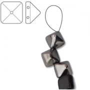 Pyramid Beads 6mm Jet Chrome 10 Stück