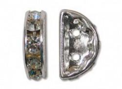 Halbmondförmiges Strassrondell versilbert 13x6mm Crystal