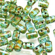 Rulla Beads 3x5mm Aquamarine Travertin ca 10gr