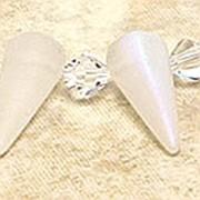 Spikes Glasperlen 17x7mm Crystal AB matt 6 Stück
