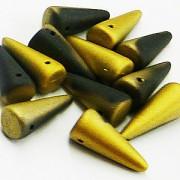 Spikes Glasperlen 17x7mm Jet Gold matt 6 Stück