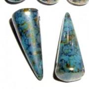 Spikes Glasperlen 17x7mm Turquoise Bronze Picasso 6 Stück