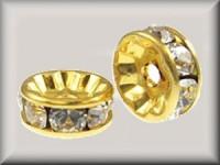 Swarovski Elements Strassondelle 6mm Steine Crystal vergoldet nickelfrei 10 Stück