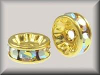 Swarovski Elements Strassrondelle 6mm Steine Crystal AB vergoldet nickelfrei 10 Stück