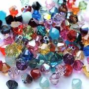 Swarovski Elements Perlen Bicones 3mm Perlenplanet MIX Phantasie 100 Stück aus 40 Farben mit und ohne AB beschichtet