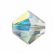 Swarovski Elements Perlen Bicones 10mm Crystal AB beschichtet 10 Stück