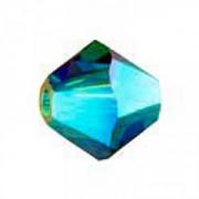 Swarovski Elements Perlen Bicones 4mm Blue Zircon 2xAB beschichtet 100 Stück